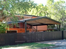Gable Carport with infill in timber slats